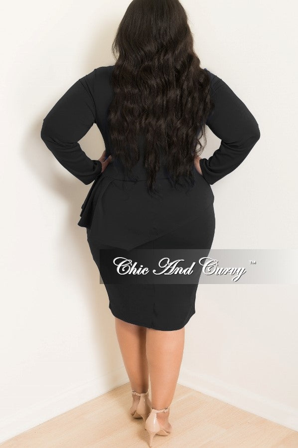 Final Sale Plus Size BodyCon Peplum Dress with Neck Tie and Back Zipper in Black
