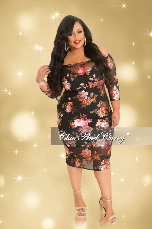 Final Sale Plus Size Mesh Off the Shoulder Dress with 3/4 Sleeves in Black Floral Print