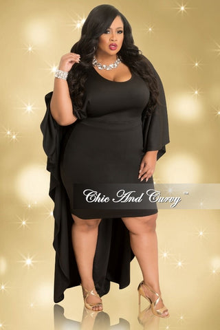 Final Sale Plus Size BodyCon Dress with Attached Draping Cape in Black (Seasonal)