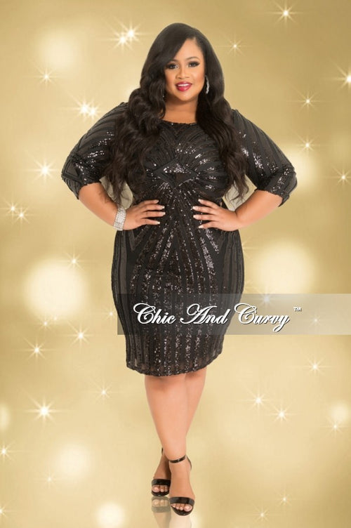 Final Sale Plus Size Long Sleeve BodyCon Dress with Sheer Sequin Front in Black (Seasonal)