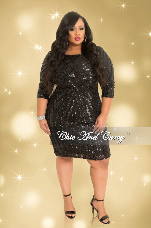 Final Sale Plus Size Long Sleeve Bodycon Dress With Sheer Sequin