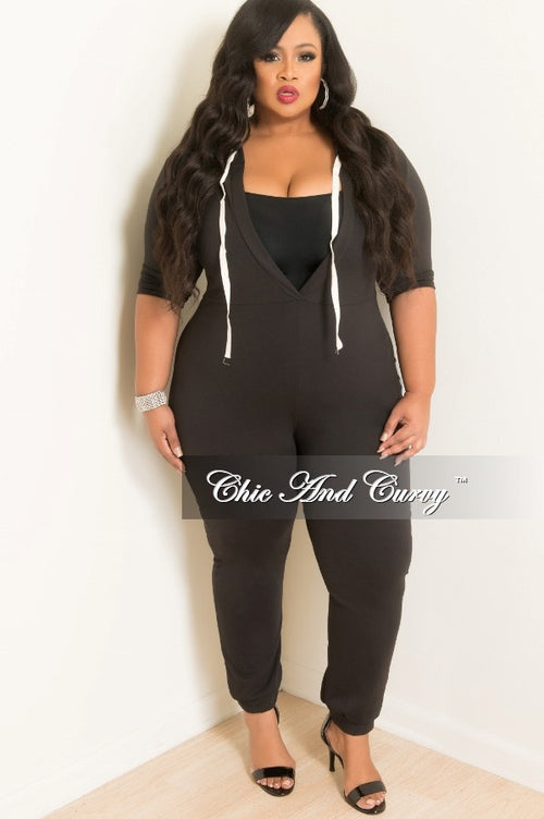Final Sale Plus Size Short Sleeve Deep V-Neck Hooded Onesie in Black