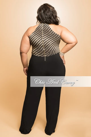 Final Sale (Seasonal) Plus Size Jumpsuit with Black Bottom and Stripe Cutout Top in Black and Gold