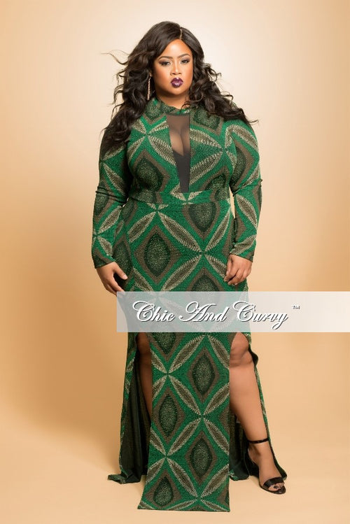 Final Sale Plus Size Gown with Mesh Center and Double Slit in Green and Black