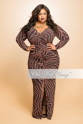 Final Sale (Seasonal) Plus Size Gown with Ruched Center and Front Slit in Red, Black and Gold