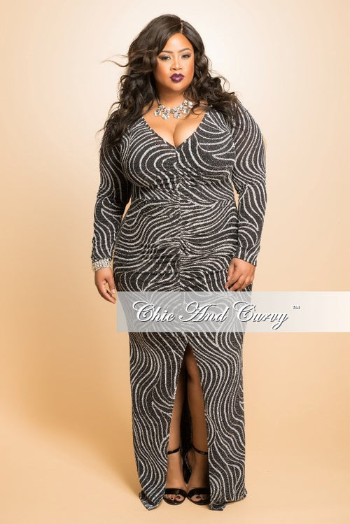 Final Sale  Plus Size Gown with Ruched Center and Front Slit in Black, Grey and Silver