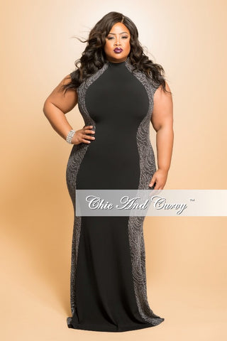 Final Sale (Seasonal) Plus Size Gown with Center Silhouette and Glitter Sides in Black