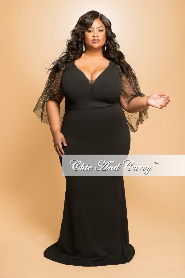 Final Sale (Seasonal) Plus Size Gown with Sheer Glitter Sleeves in Black