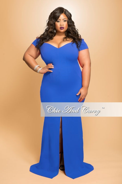 Final Sale Plus Size Long Dress with Slit Front in Blue