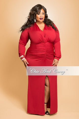 New Plus Size BodyCon Gown with Ruched Center and Slit in  Burgundy