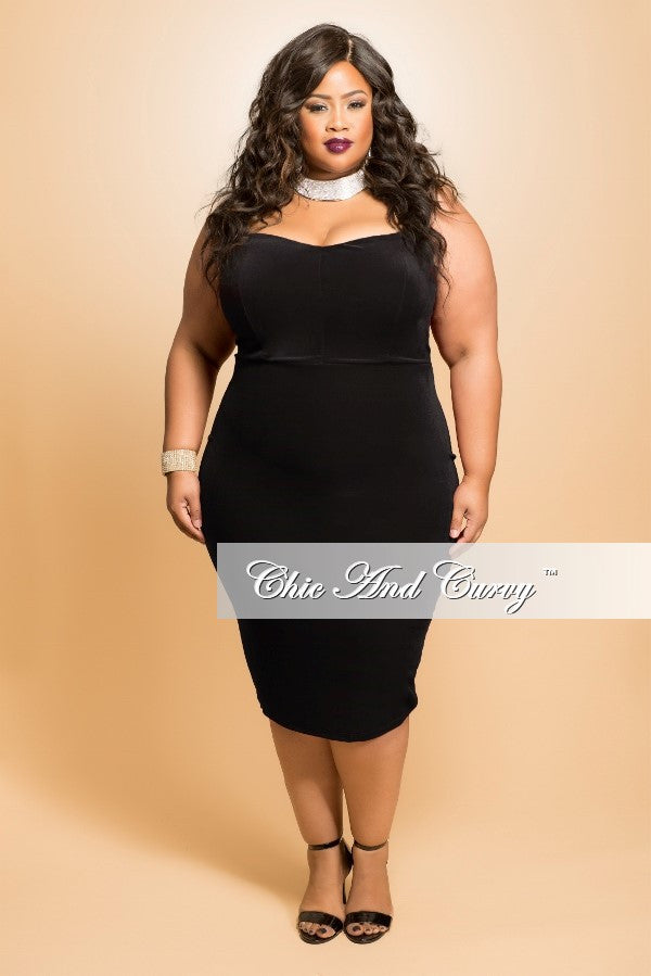 Final Sale Plus Size Velour Strapless BodyCon Dress in Black