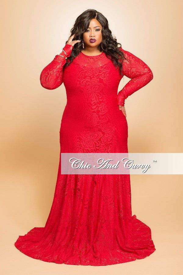 35% Off Sale - Final Sale Plus Size Lace Gown with Long Sleeves in ...