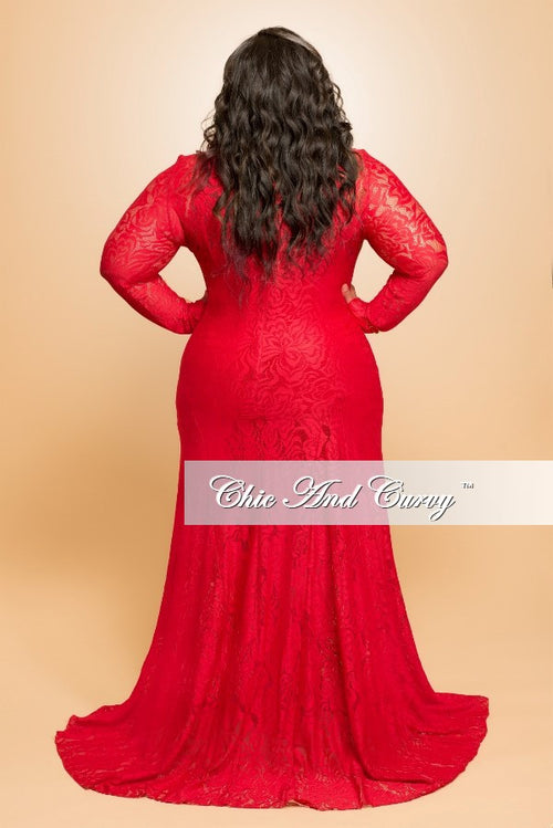 Final Sale (Seasonal) Plus Size Lace Gown with Long Sleeves in Red