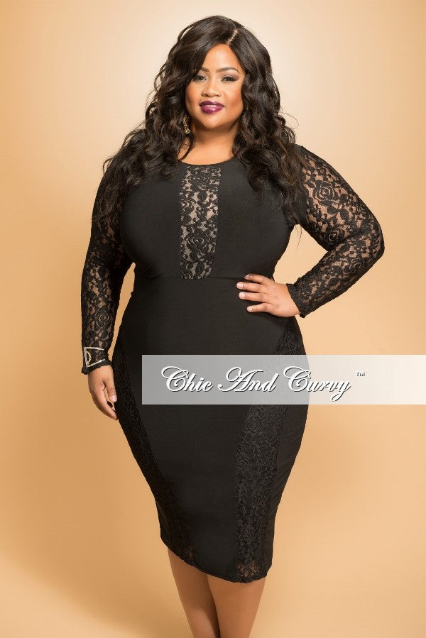 Final Sale Plus Size BodyCon Dress with Lace Panels in  Black