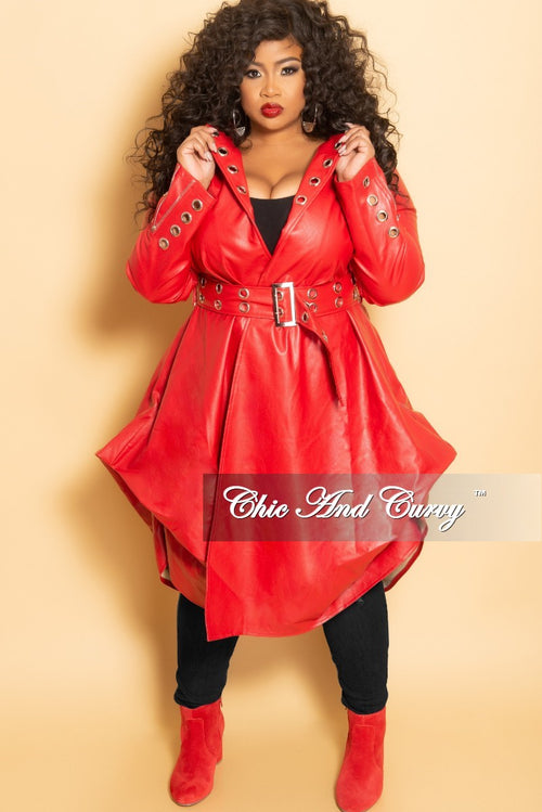 Final Sale Size Plus Faux Leather Duster Jacket with Grommets & Belt in Red