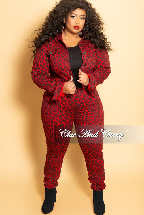 Final Sale Plus Size 2-Piece Denim Jacket and Pants Set in Red and Black Animal Print