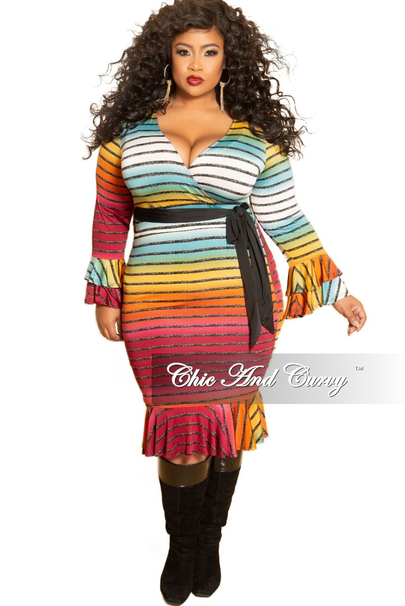 New Plus Size Long Sleeve Faux Wrap BodyCon Dress with Attached Tie and Ruffle Trim in Multi Color Stripe Print
