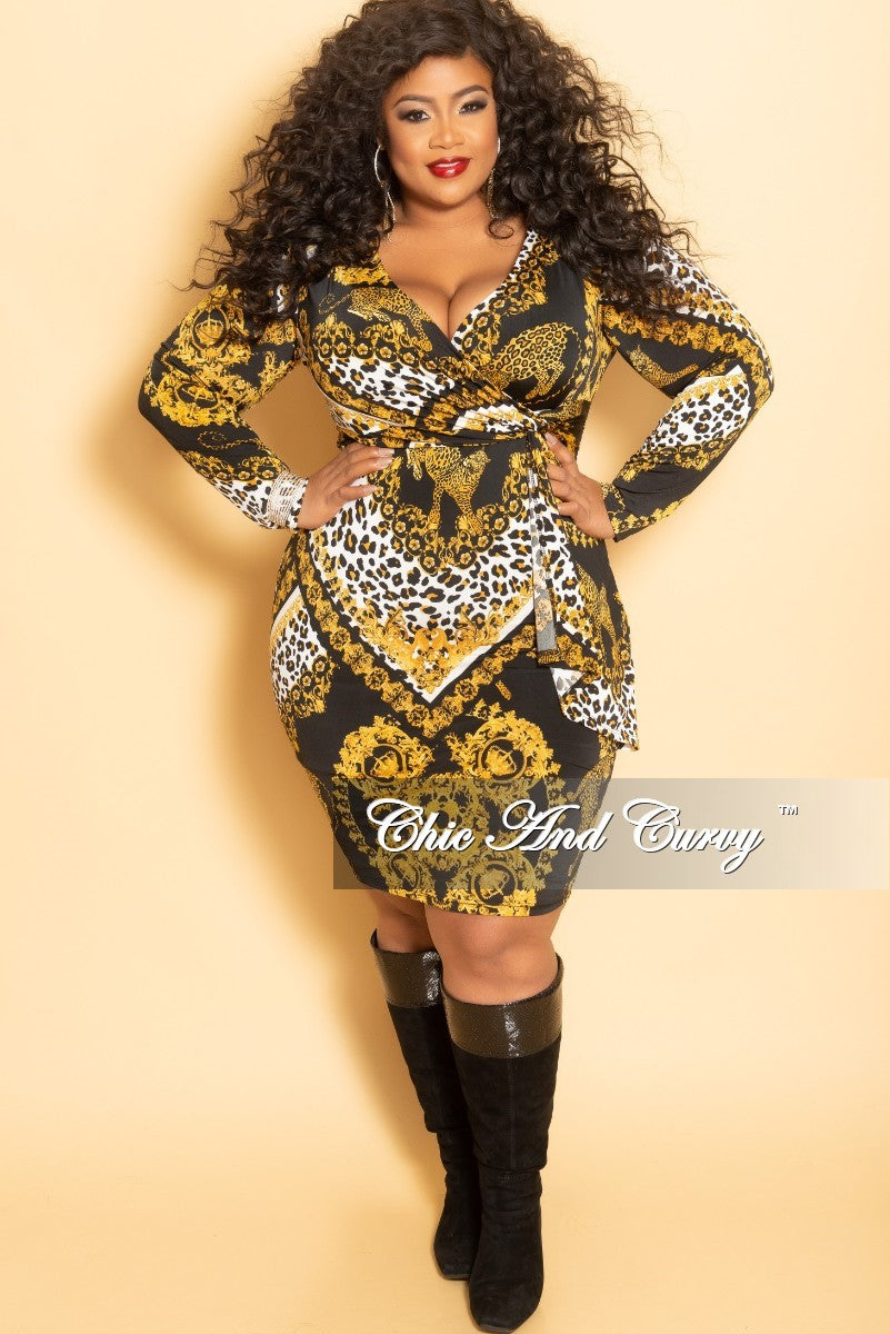e7cec14424 Final Sale Plus Size Animal Printed Faux Wrap Dress in Black Gold and – Chic  And Curvy