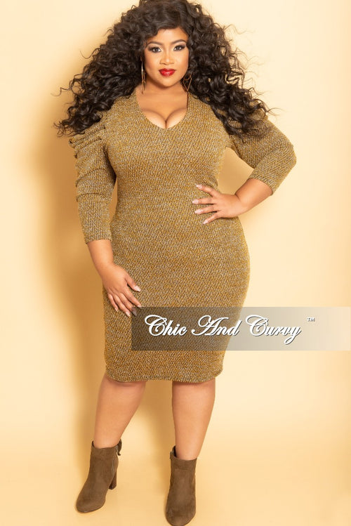 Final Sale Plus Size BodyCon Sweater Dress with Puffy Sleeves in Mustard
