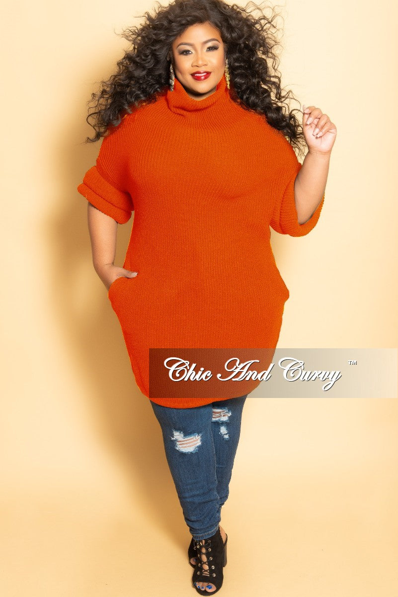 New Plus Size Turtleneck Sweater/Dress with Pockets and Donut Cuff Sleeves in Rust