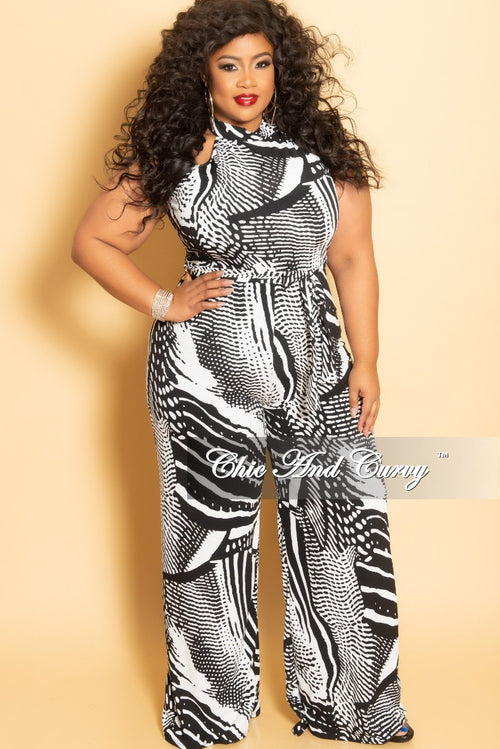 d2e07c5d5f01 New Plus Size Halter Top Jumpsuit with Attached Tie in Black and White