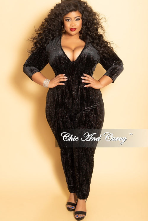 Final Sale Plus Size Long Sleeve Glitter Velvet V-Neck Jumpsuit in Black (Seasonal)