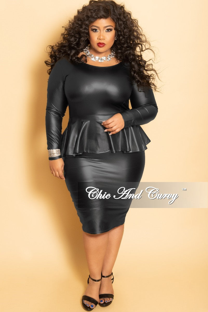 Final Sale Plus Size Faux Leather BodyCon Peplum Dress in Black