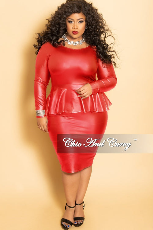 Final Sale Plus Size Faux Leather BodyCon Peplum Dress in Red