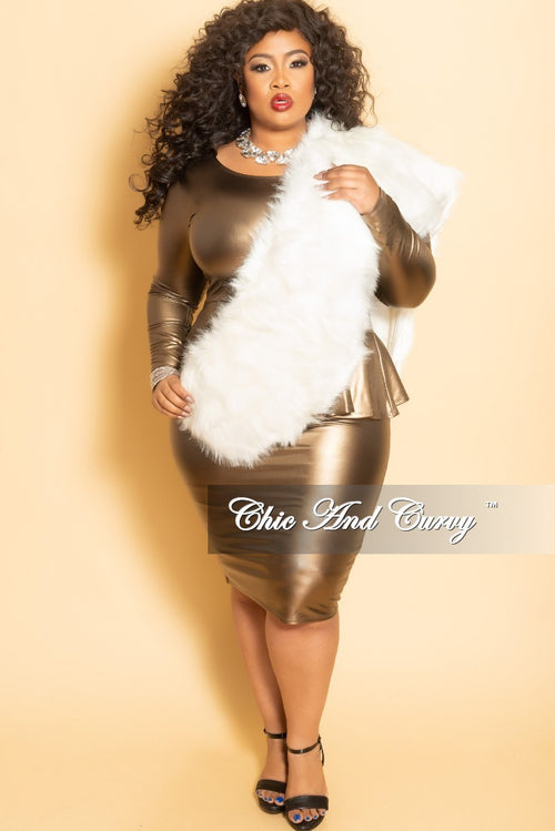 Final Sale Plus Size Faux Leather BodyCon Peplum Dress in Bronze