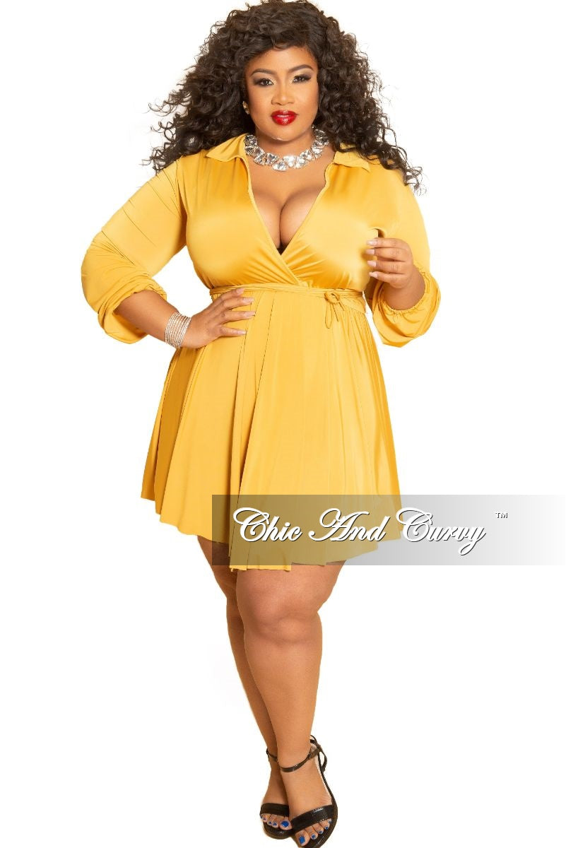 Final Sale Plus Size Collar Faux Dress with Attached Tie in Mustard