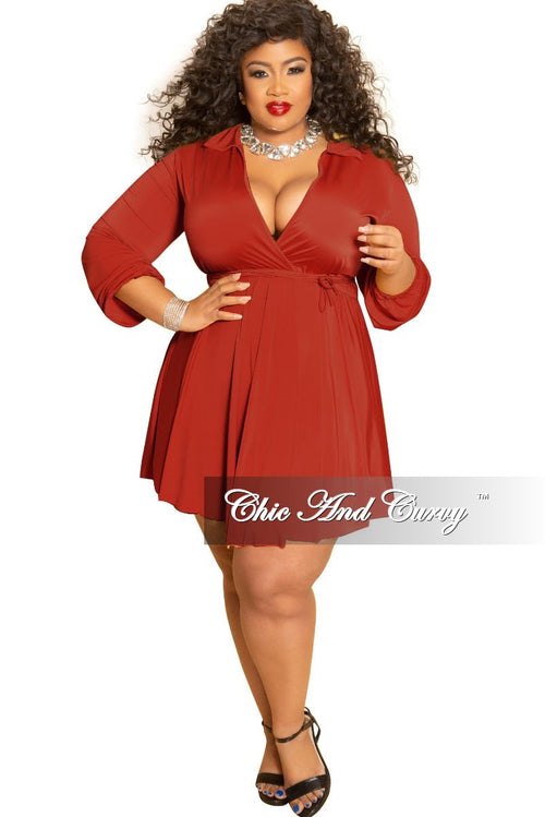 Final Sale Plus Size Collar Faux Dress with Attached Tie in Rust