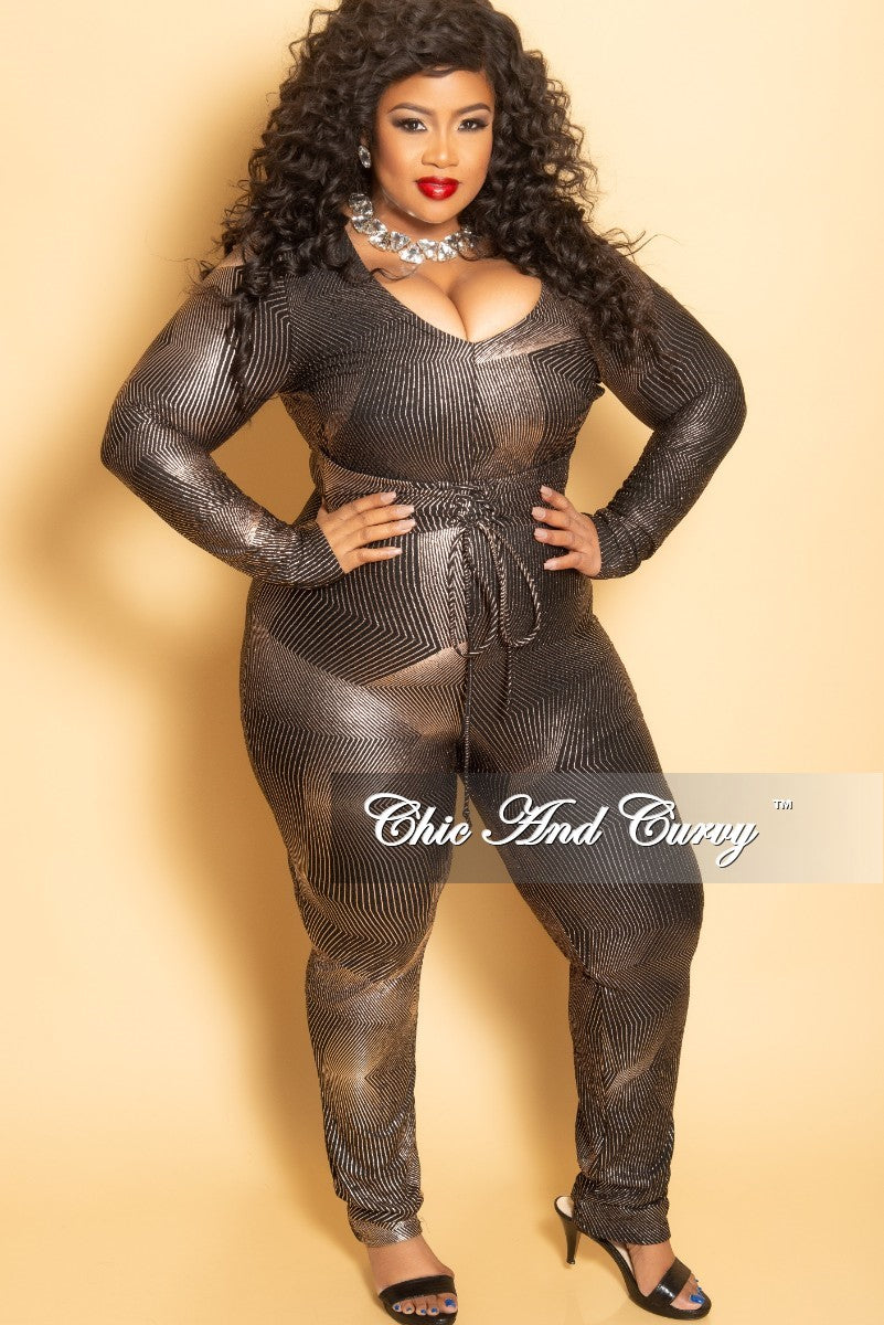 d729176ecf New Plus Size Long Sleeve Jumpsuit with Corset Waist and Back Zipper i –  Chic And Curvy