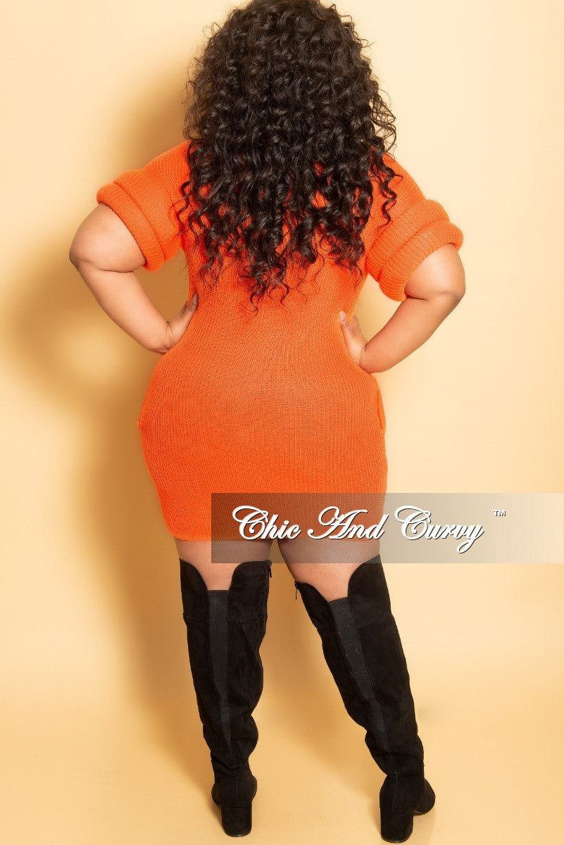 New Plus Size Turtleneck Sweater/Dress with Pockets and Donut Cuff Sleeves in Orange