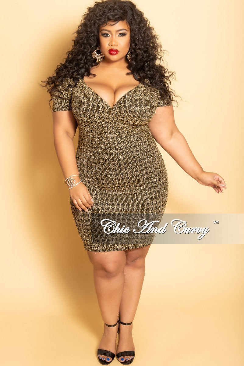 02f01f45228 Final Sale Plus Size Glitter Faux Wrap BodyCon Dress in Gold and Black –  Chic And Curvy