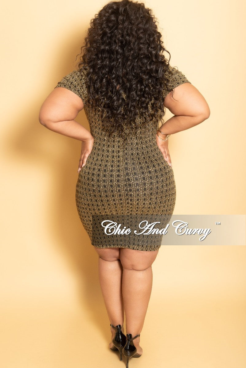 Final Sale Plus Size Glitter Faux Wrap BodyCon Dress in Gold and Black