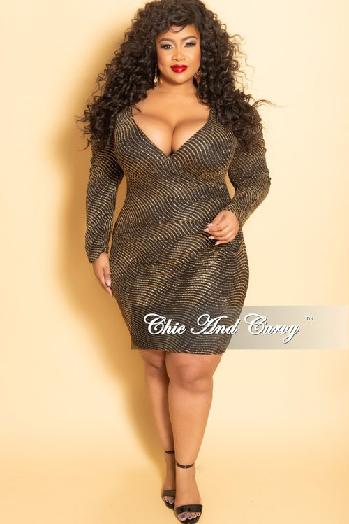 New Plus Size Glitter Long Sleeve Faux Wrap Ruched BodyCon Dress in Gold and Black