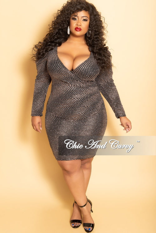New Plus Size Glitter Long Sleeve Faux Wrap Ruched BodyCon Dress in Mauve and Black
