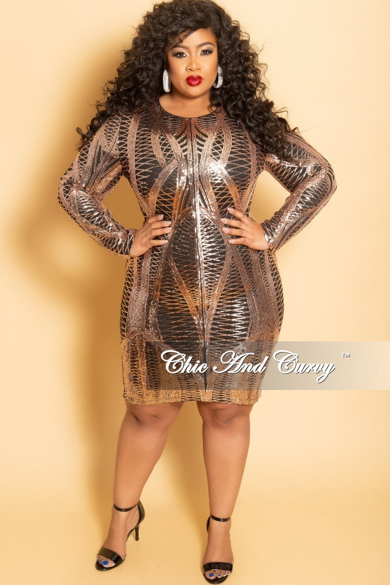 fdb4988b9ca Final Sale Plus Size Long Sleeve Sequin Midi Dress in Rose Gold and Bl –  Chic And Curvy