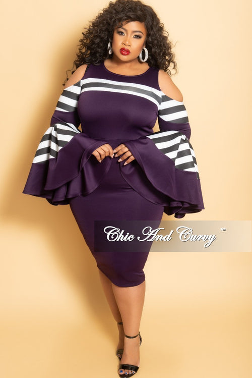 New Plus Size Cold Shoulder Peplum BodyCon Dress with Bell Sleeves in Plum with Black and White Stripes