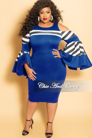ffd097368e66 New Plus Size Cold Shoulder Peplum BodyCon Dress with Bell Sleeves in Royal  Blue with Black and White Stripes.   72.00. New Plus Size Halter Top  Jumpsuit ...