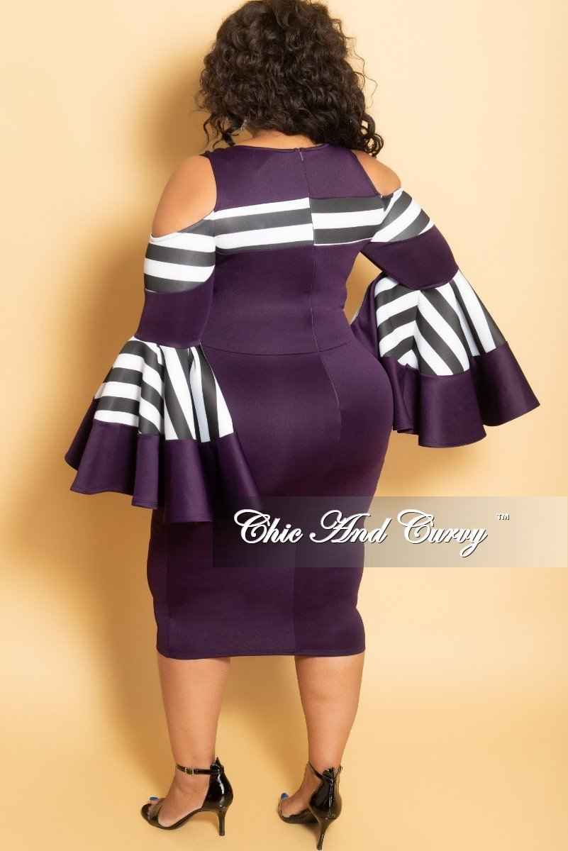 6d61ebff2ff6d New Plus Size Cold Shoulder Peplum BodyCon Dress with Bell Sleeves in Plum  with Black and