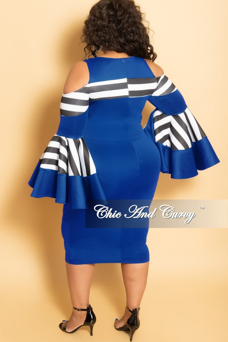 Final Sale Plus Size Cold Shoulder BodyCon Dress with Bell Sleeves in Royal Blue with Black and White Stripes