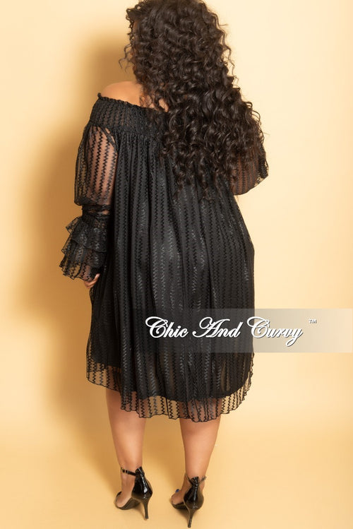 Final Sale Plus Size Sheer Mesh Off the Shoulder Dress with Ruffle Sleeves in Black