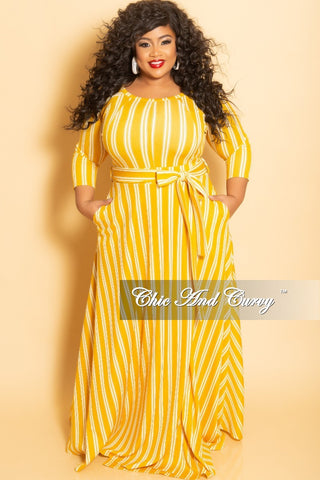 d435e05b594b Final Sale Plus Size Long Wrap Dress with Pockets and Attached Tie in  Mustard and White Stripe Print.   72.00. New Plus Size Halter Top Jumpsuit  ...