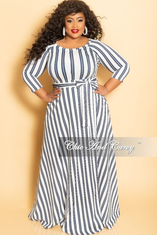 Final Sale Plus Size Long Maxi Dress with Pockets and Attached Tie in White and Navy Stripe Print