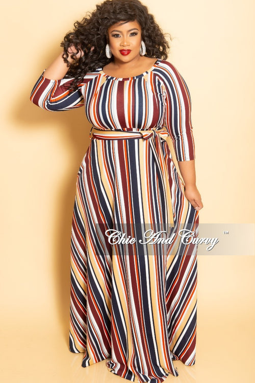 New Plus Size Long Wrap Dress with Pockets and Attached Tie in Multi Color Stripe Print