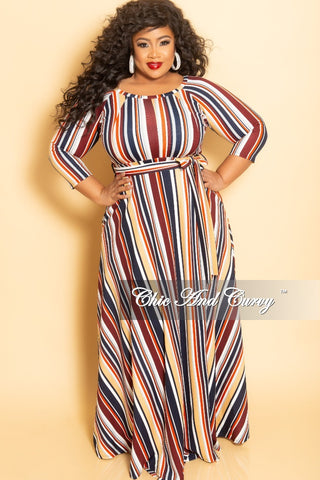 New Plus Size Long Sleeve V-Neck Gown in Multi Color Block Paint Print