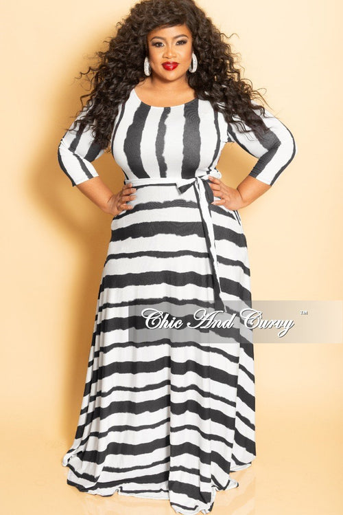 Final Sale Plus Size Long Pocket Dress with 3/4 Sleeve and Tie in White and Black Striped Tie Dye Print
