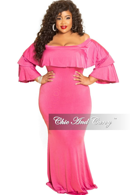 New Plus Size Off the Shoulder Ruffle Long Dress in Fuchsia