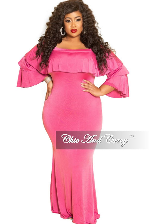 Final Sale Plus Size Off the Shoulder Ruffle Long Dress in Fuchsia